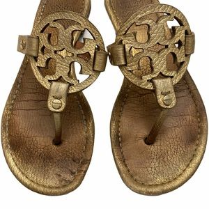Tory Burch tumbled leather Miller sandals
